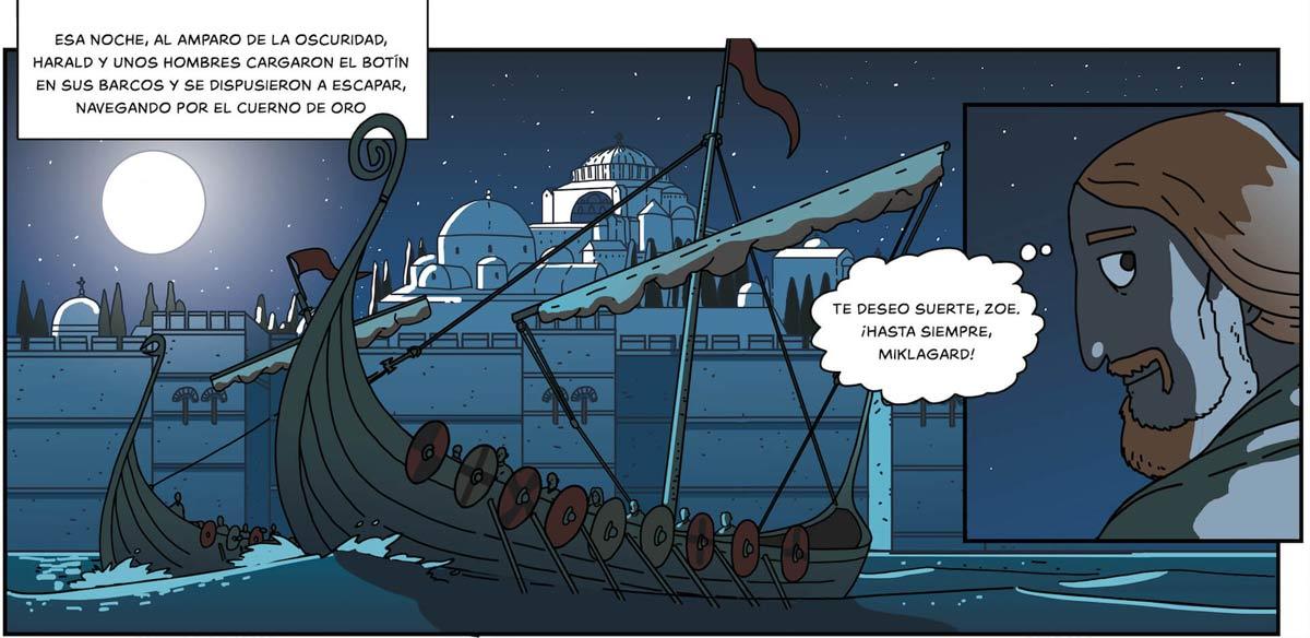 Huida de Harald de Constantinopla, con Santa Sofía recortada en la noche