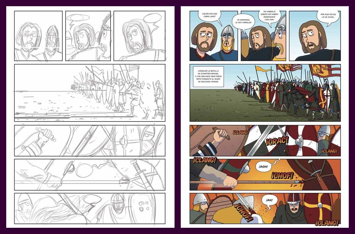 Boceto y color de las páginas de Harald, el último vikingo dibujadas por El Fisgón Histórico (Juan de Aragón)