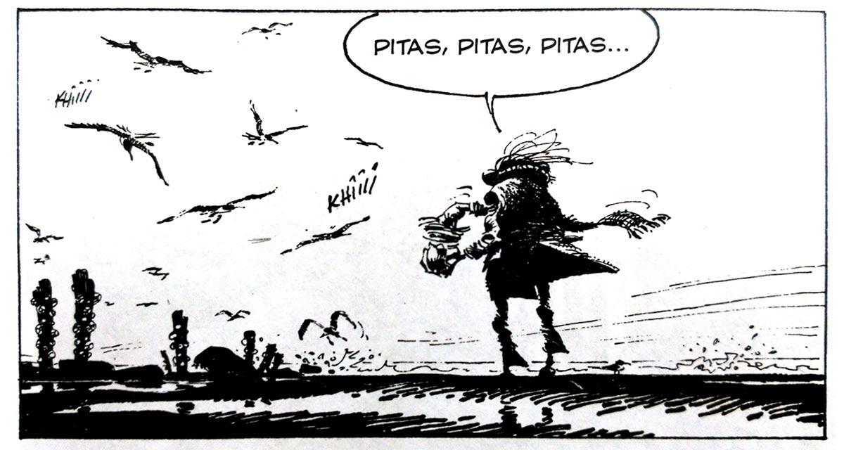 Ejemplo de línea tramada de Franquin