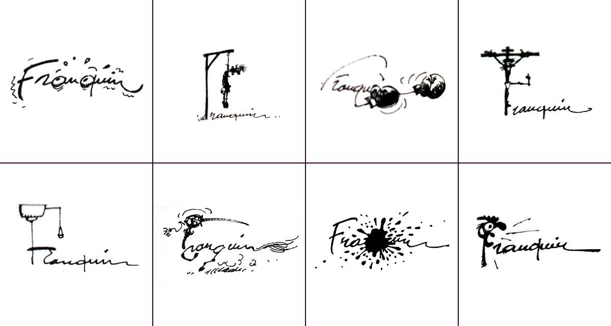Ejemplos de diferentes firmas con las que André Franquin cerraba sus páginas