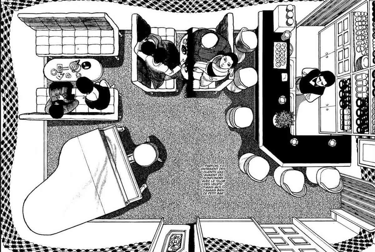 Kamimura de vez en cuando rompe la lógica de las páginas con planos cenitales como éste