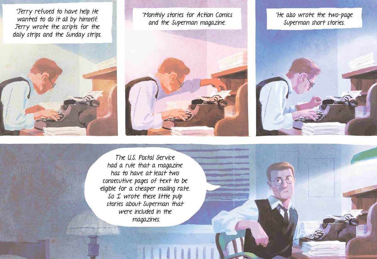 Jerry Siegel escribiendo nuevas historias para Action Cómics y Superman