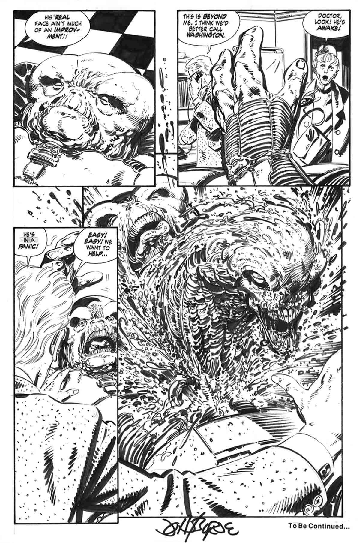 Dibujo original de John Byrne. Aliens: Earth Angel, Pág. 6